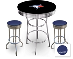 3 Piece Black Pub/Bar Table Featuring the Toronto Blue Jays MLB Team Logo Decal and 2 Blue Vinyl Covered Cushions on Swivel Stools