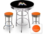 3 Piece Black Pub/Bar Table Featuring the Miami Marlins MLB Team Logo Decal and 2 Orange Vinyl Covered Cushions on Swivel Stools