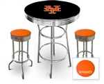 3 Piece Black Pub/Bar Table Featuring the New York Mets MLB Team Logo Decal and 2 Orange Vinyl Covered Cushions on Swivel Stools