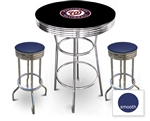 3 Piece Black Pub/Bar Table Featuring the Washington Nationals MLB Team Logo Decal and 2 Blue Vinyl Covered Cushions on Swivel Stools