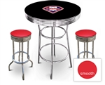 3 Piece Black Pub/Bar Table Featuring the Philadelphia Phillies MLB Team Logo Decal and 2 Red Vinyl Covered Cushions on Swivel Stools