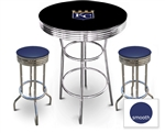 3 Piece Black Pub/Bar Table Featuring the Kansas City Royals MLB Team Logo Decal and 2 Blue Vinyl Covered Cushions on Swivel Stools