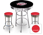 3 Piece Black Pub/Bar Table Featuring the Minnesota Twins MLB Team Logo Decal and 2 Red Vinyl Covered Cushions on Swivel Stools