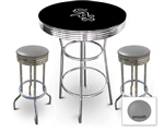 3 Piece Black Pub/Bar Table Featuring the Chicago White Sox MLB Team Logo Decal and 2 Gray Vinyl Covered Cushions on Swivel Stools