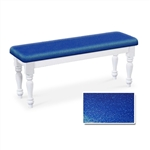 Blue Glitter Vinyl White Finish Wooden Dining Bench