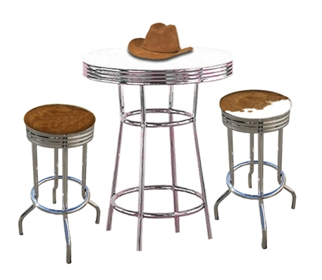 New Genuine Cowhide Hair On The Hide 2 Western 29 Chrome Swivel Seat Bar Stools With White