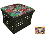 Black Utility Crate Storage Container Ottoman Bench Stool for Office/Home/School/Preschools with Your Choice of Seat Cushion Theme!