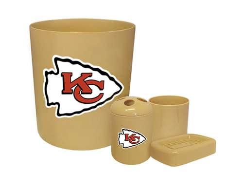 New 4 Piece Bathroom Accessories Set In Beige Featuring Kansas City Chiefs Nfl Team Logo
