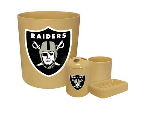New 4 Piece Bathroom Accessories Set In Beige Featuring Oakland Raiders Nfl Team Logo