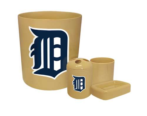 New 4 Piece Bathroom Accessories Set In Beige Featuring Detroit Tigers Mlb Team Logo