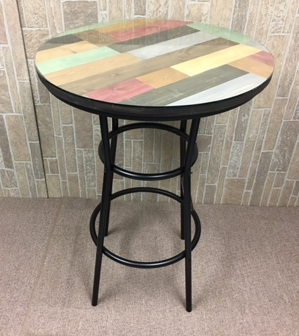 Rustic Man Cave Multi Colored Pine Wood And Black Metal Finish Bar Table  With A Glass ...