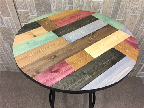 Rustic Man Cave Multi Colored Pine Wood And Black Metal Finish Bar Table