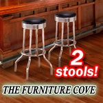 2 Chrome Black Commercial Strong Swivel Restaurant Barstools man cave mancave