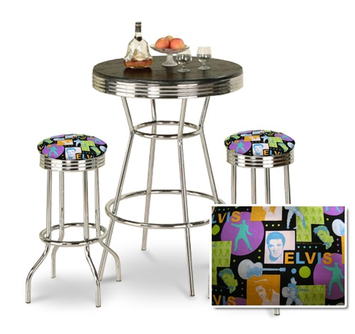 The Furniture Cove 3 Piece Chrome Bar Table Set With 2