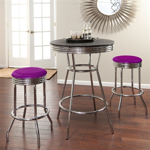 View Larger Photo Email ... & The Furniture Cove - 3 Piece Chrome Bar Table Set with 2 Chrome ...