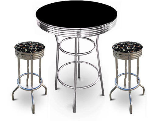 barstools chrome table black white round bar stools stool swivels foot rest ring cushion seat cave  sc 1 st  The Furniture Cove & The Furniture Cove - 3 Piece Chrome Bar Table Set with 2 Chrome ...