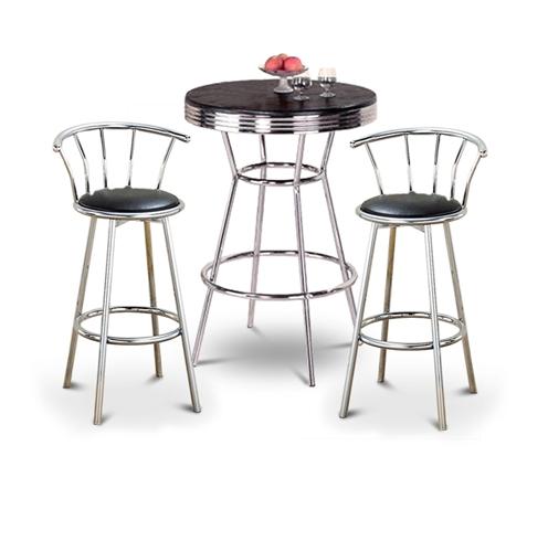 The Furniture Cove 3 Piece Retro Black Bistro Table Pub
