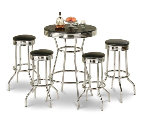 Bar Table Pub Set Barstool Barstools Stool Stools Black Vinyl Retro Chrome  Hardwood Top Traditional Soda
