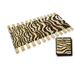 BROWN-WHITE Brown White Zebra Faux Fur  Burlap Strap Full Size Bed Slats Support / Bunkie Board
